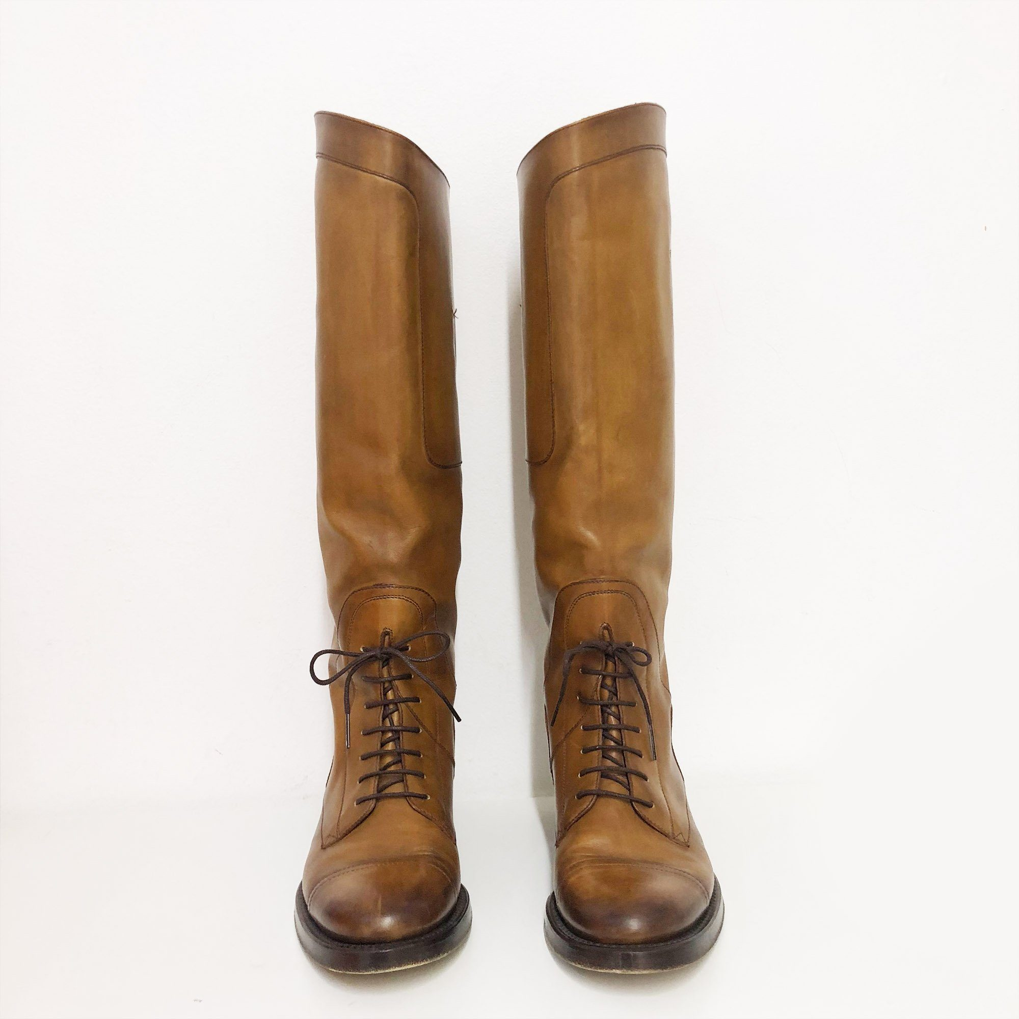 Gucci Brown Knee High Lace Boots
