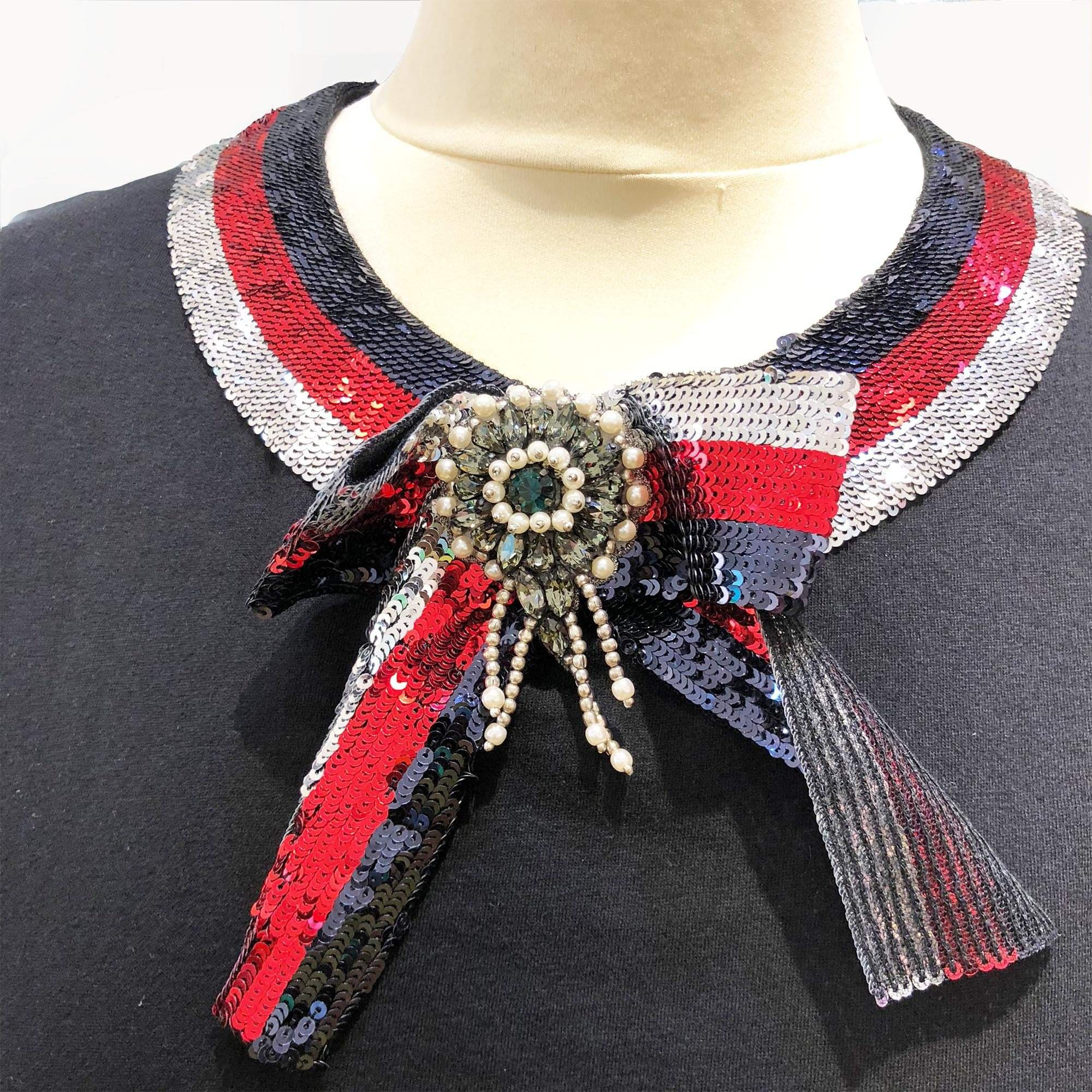 Gucci collared T-shirt with house web stripe in sequin