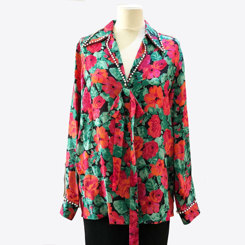 Gucci Rose Print Long Sleeve Shirt With Pearls
