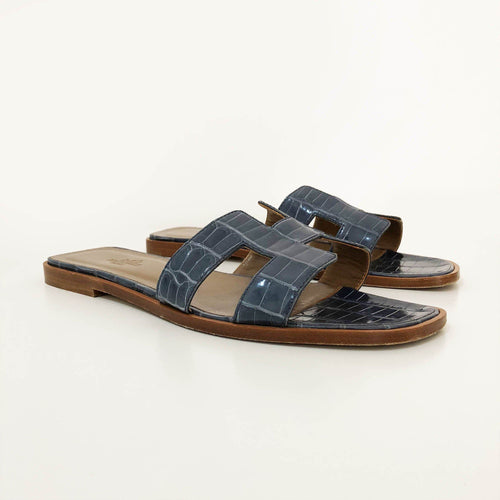 Hermes Alligator Oran Sandals