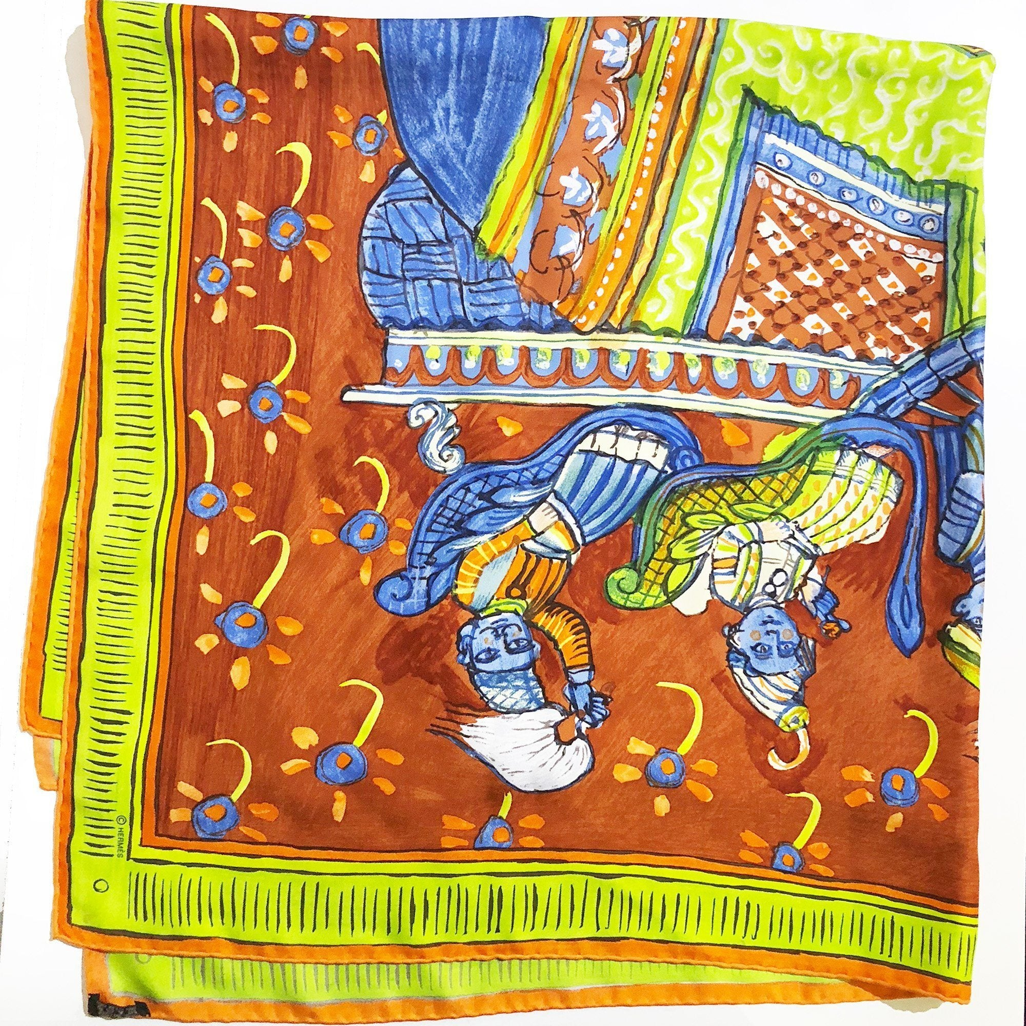 Hermes Beloved India Silk Scarf