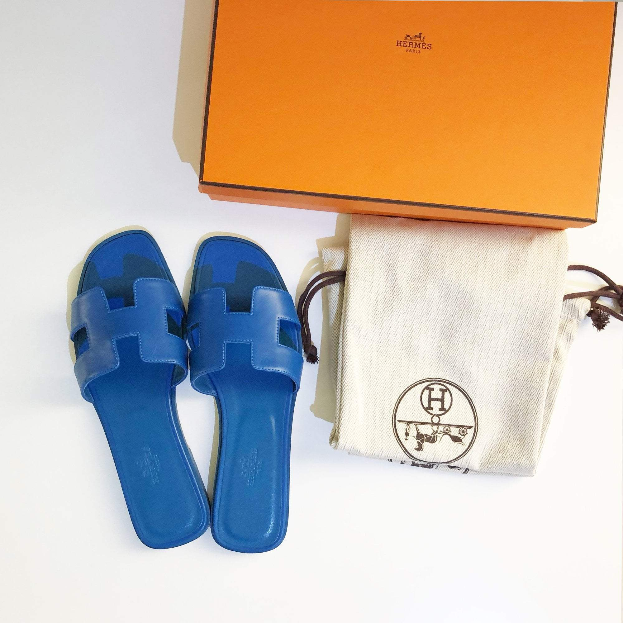 Hermes Blue Oran Leather Leather Slippers