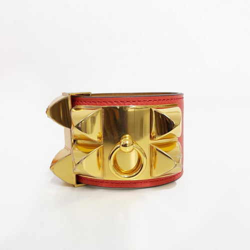 Hermès Collier de Chien Orange Epsom Leather Gold Plated Wide Cuff Bracelet