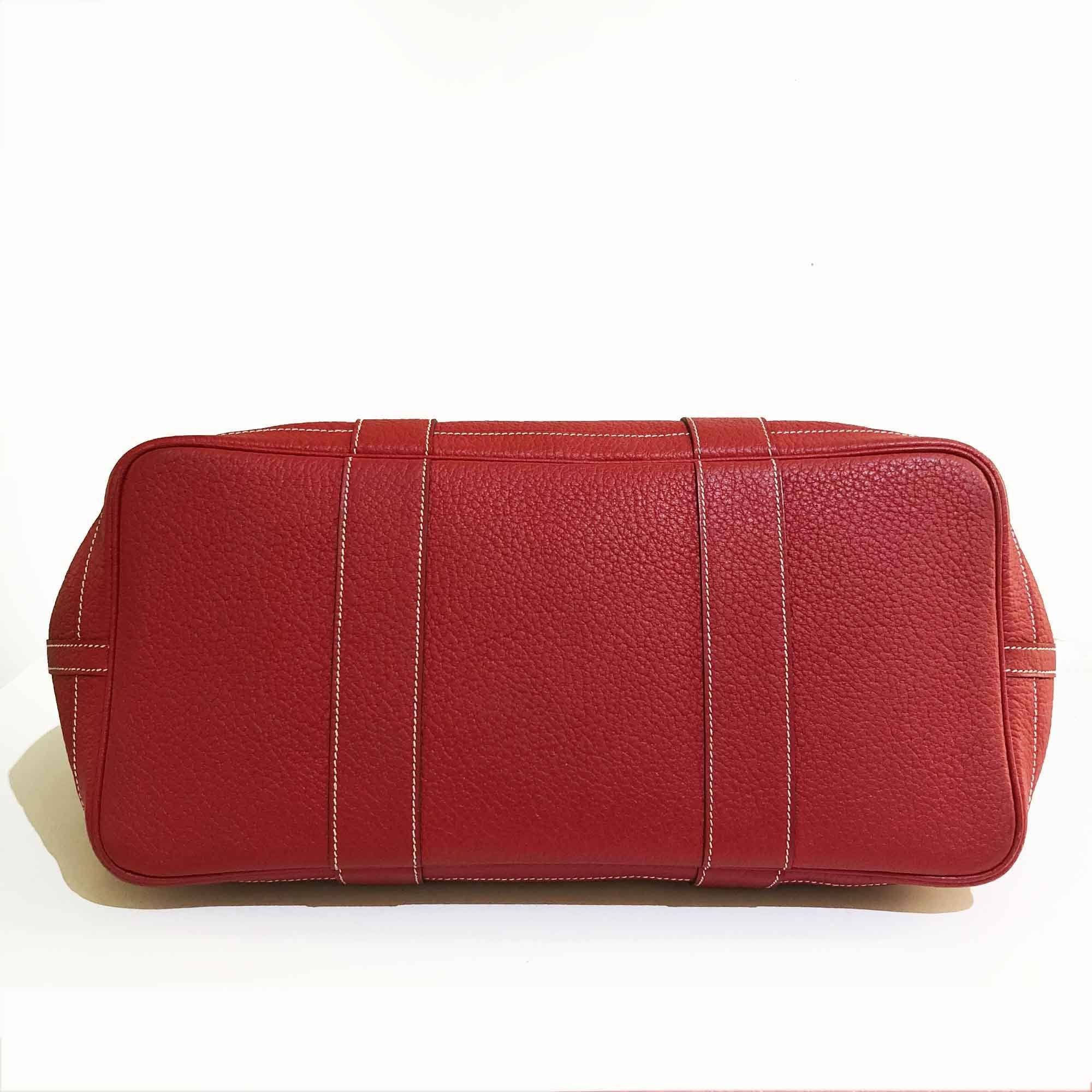 Hermes Red Garden Party Etoupe Bag MM