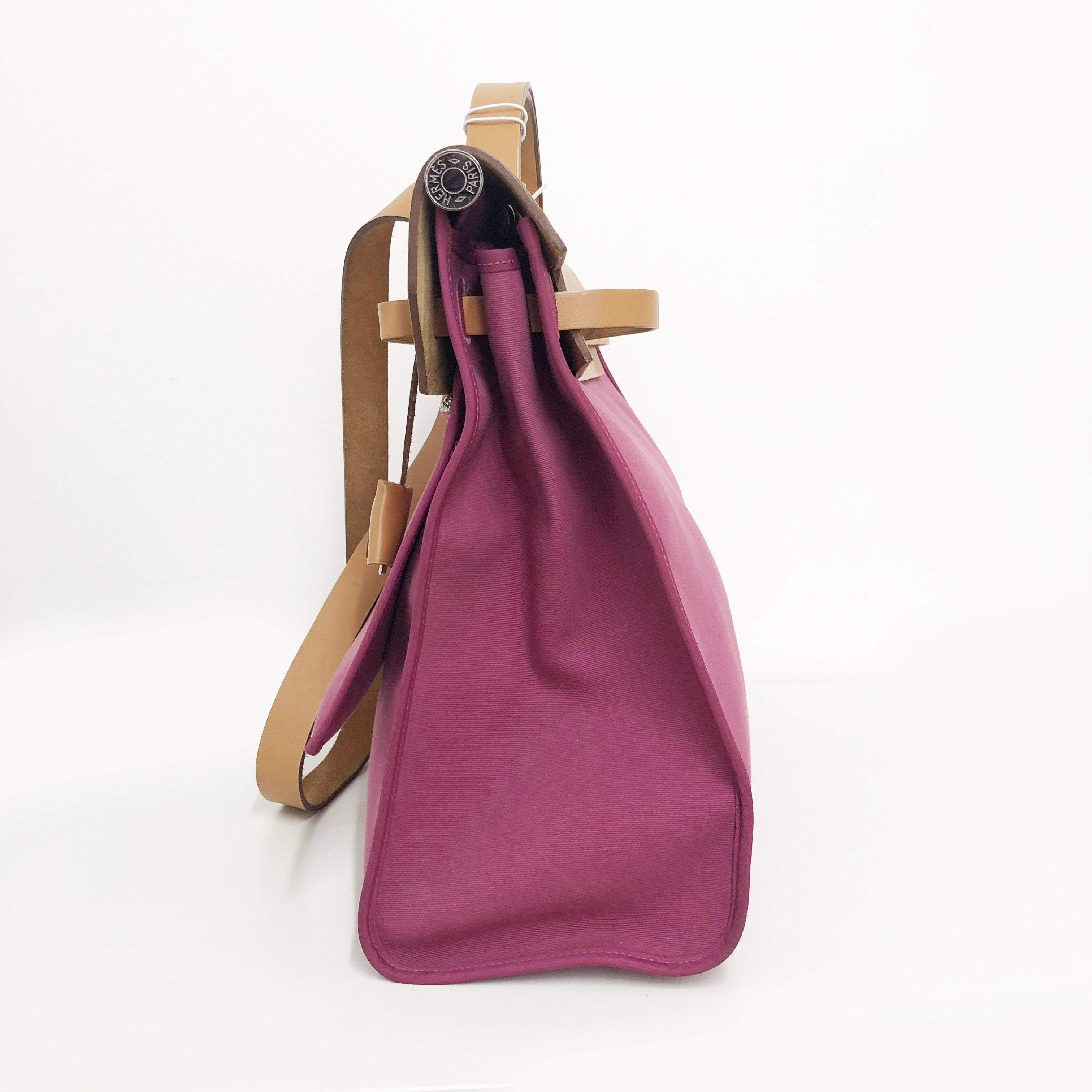 Hermes Pink Canvas and Natural Calfskin Leather Herbag size 39