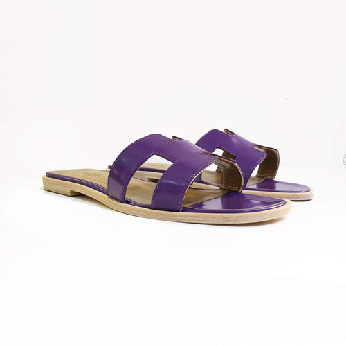 Hermes Purple Oran Patent Leather Leather Slippers