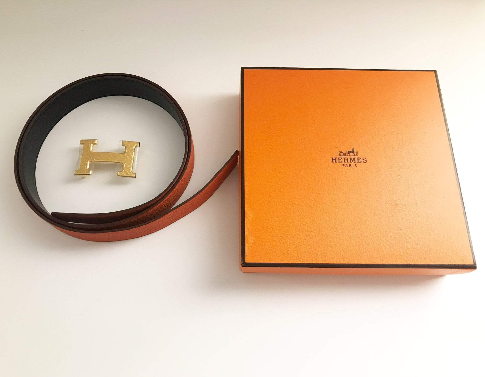 Hermes Orange Togo Leather Belt 105 CM