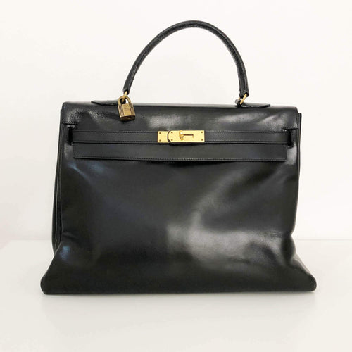 Hermes Vintage Black 35 Kelly Bag