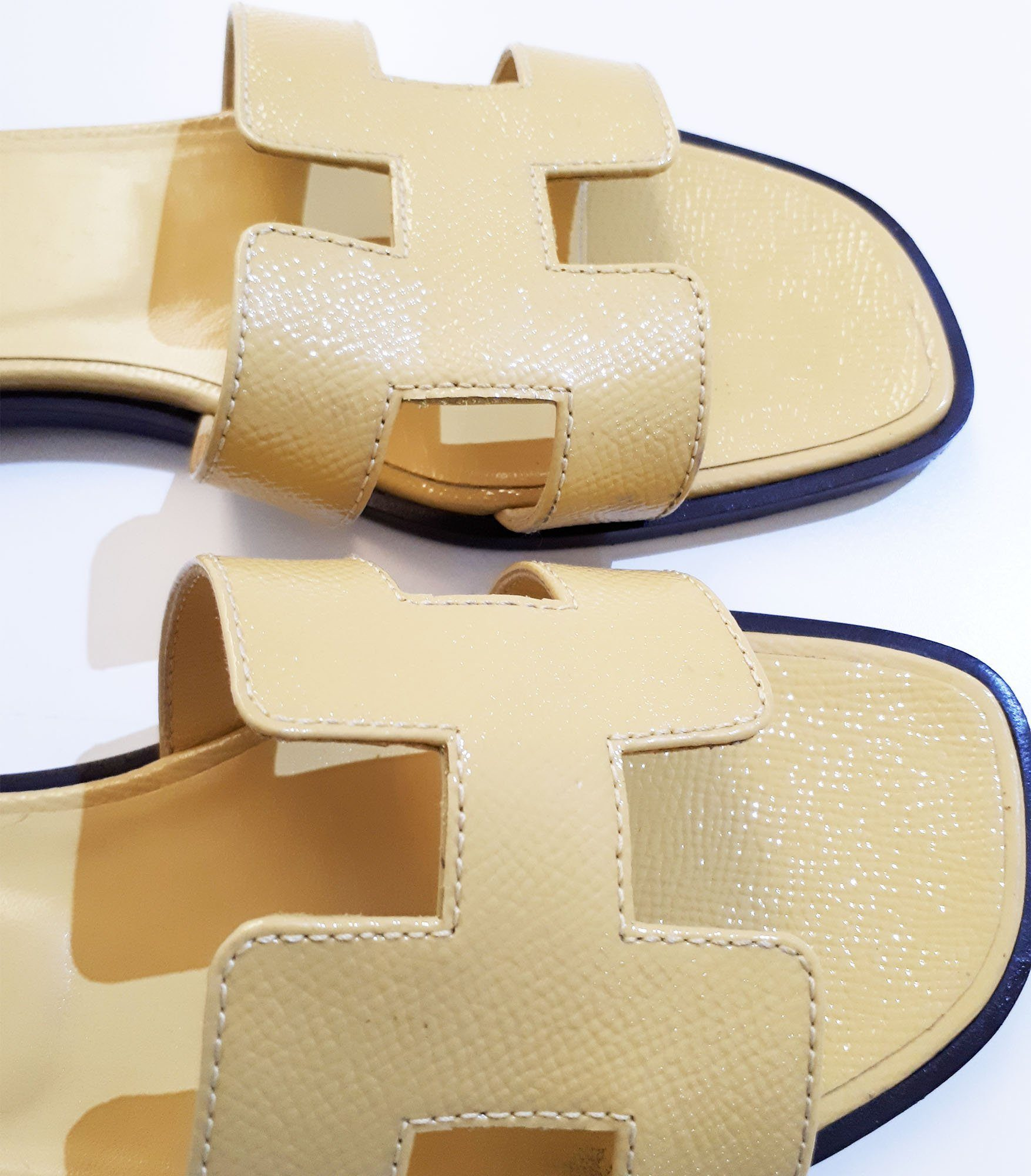 Hermes Yellow Oran Slippers