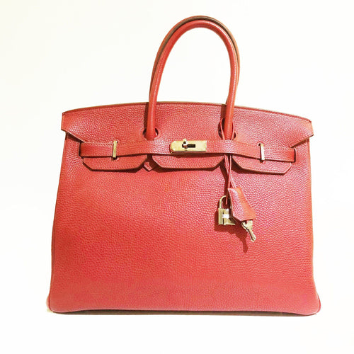 Hermes  Birkin 35 Red Togo Leather Bag