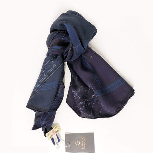 Hermes Dark Blue Purple Printed Silk Scarf