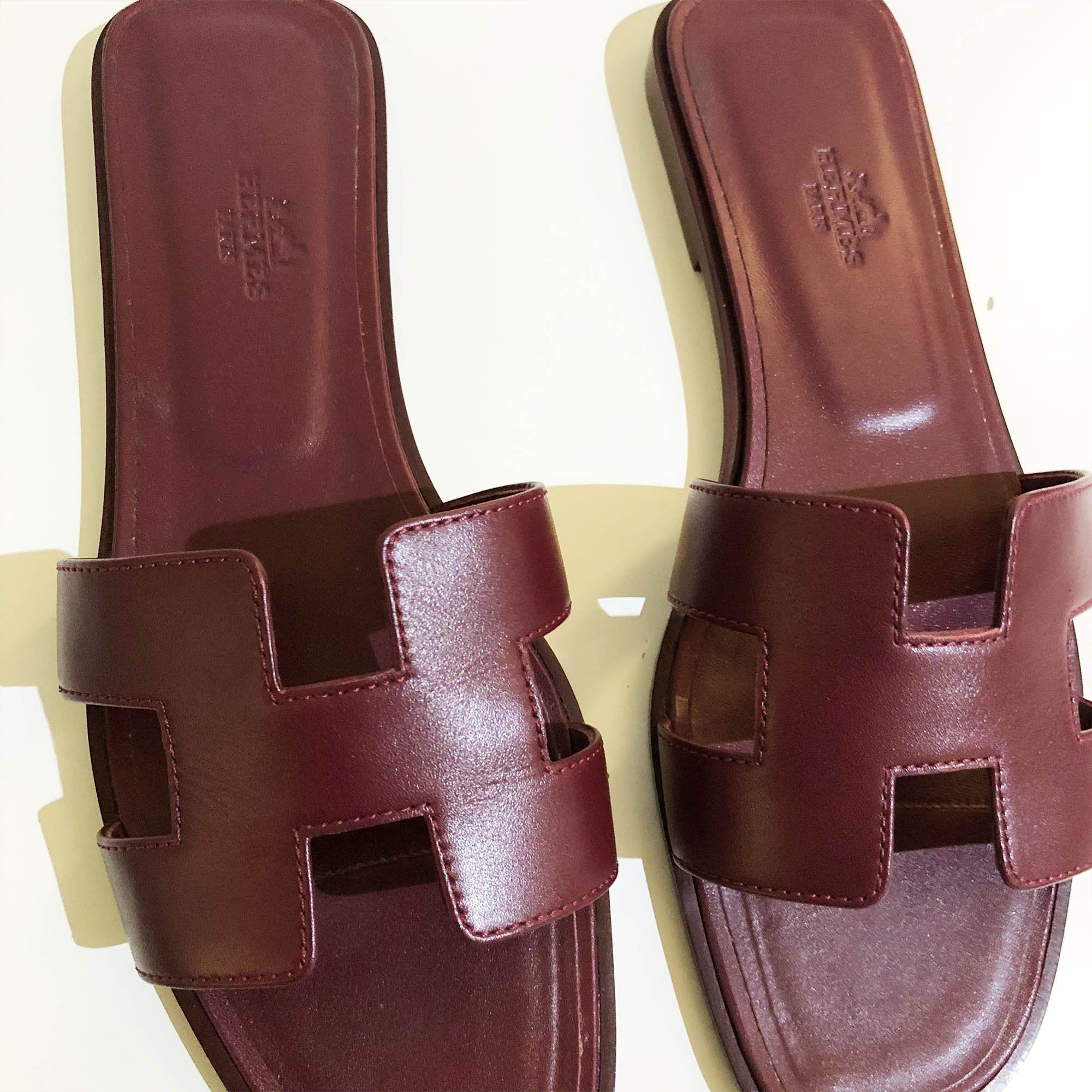 Hermes Burgundy Oran Leather Leather Slippers