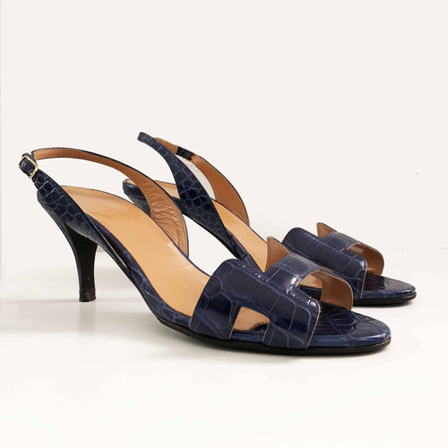 Hermes Crocodile Leather Oran Kitten Heel Sandal Heels