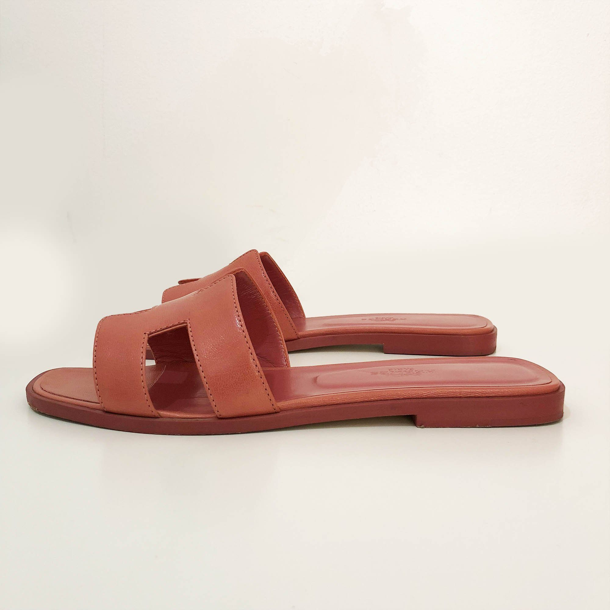 Hermes Rouge Blush Oran Slippers