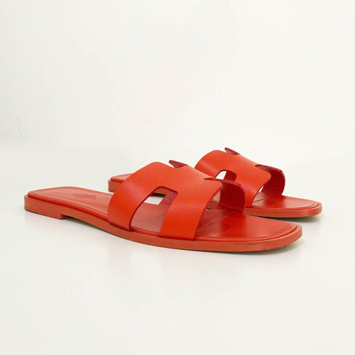 Hermes Orange Oran Slippers