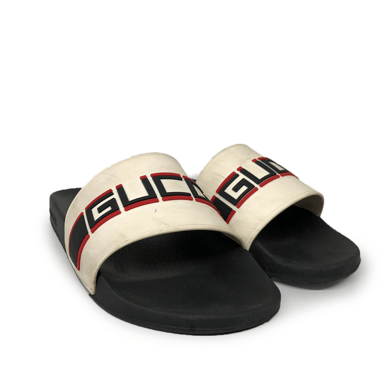 Gucci Black & White Stripe Rubber Men's Slide Sandal