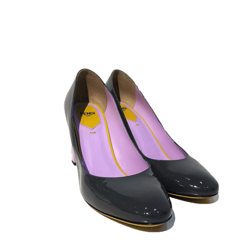 Fendi Grey Pink Pumps Patent Shoes