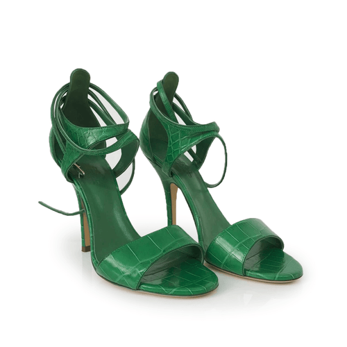 Hermes Green Crocodile Leather Cross Ankle Wrap Sandal