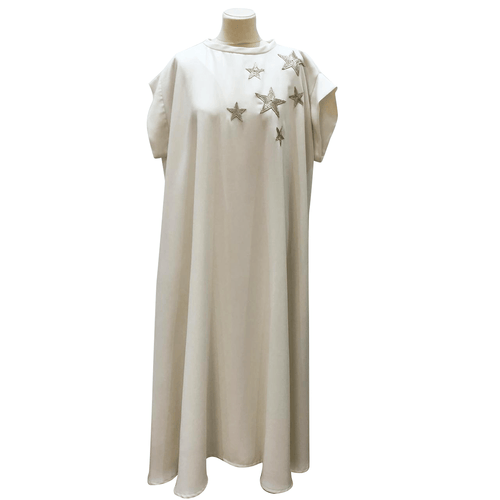 Mounay White w/Gold Embroided Star Kaftan Dress