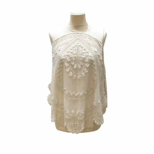 Chloe Pristine White  Embroided Detail Blouse Sleeveless