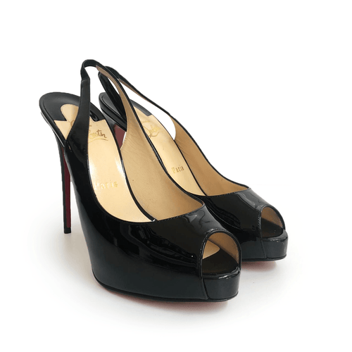Christian Louboutin Black Patent Leather Peep Toe Slingback Pumps