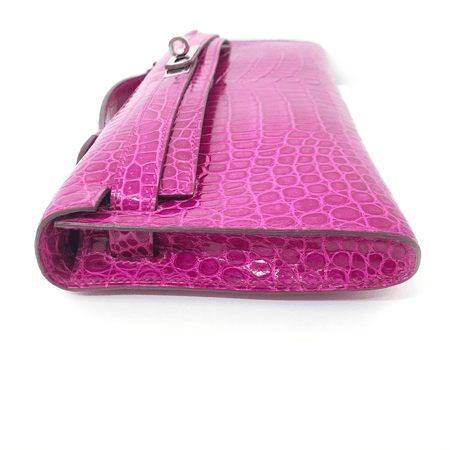 Hermes Kelly Porous Crocodile Pochette in Fuschia