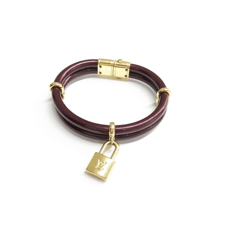Louis Vuitton Burgundy Patent Keep It Twice Bracelet