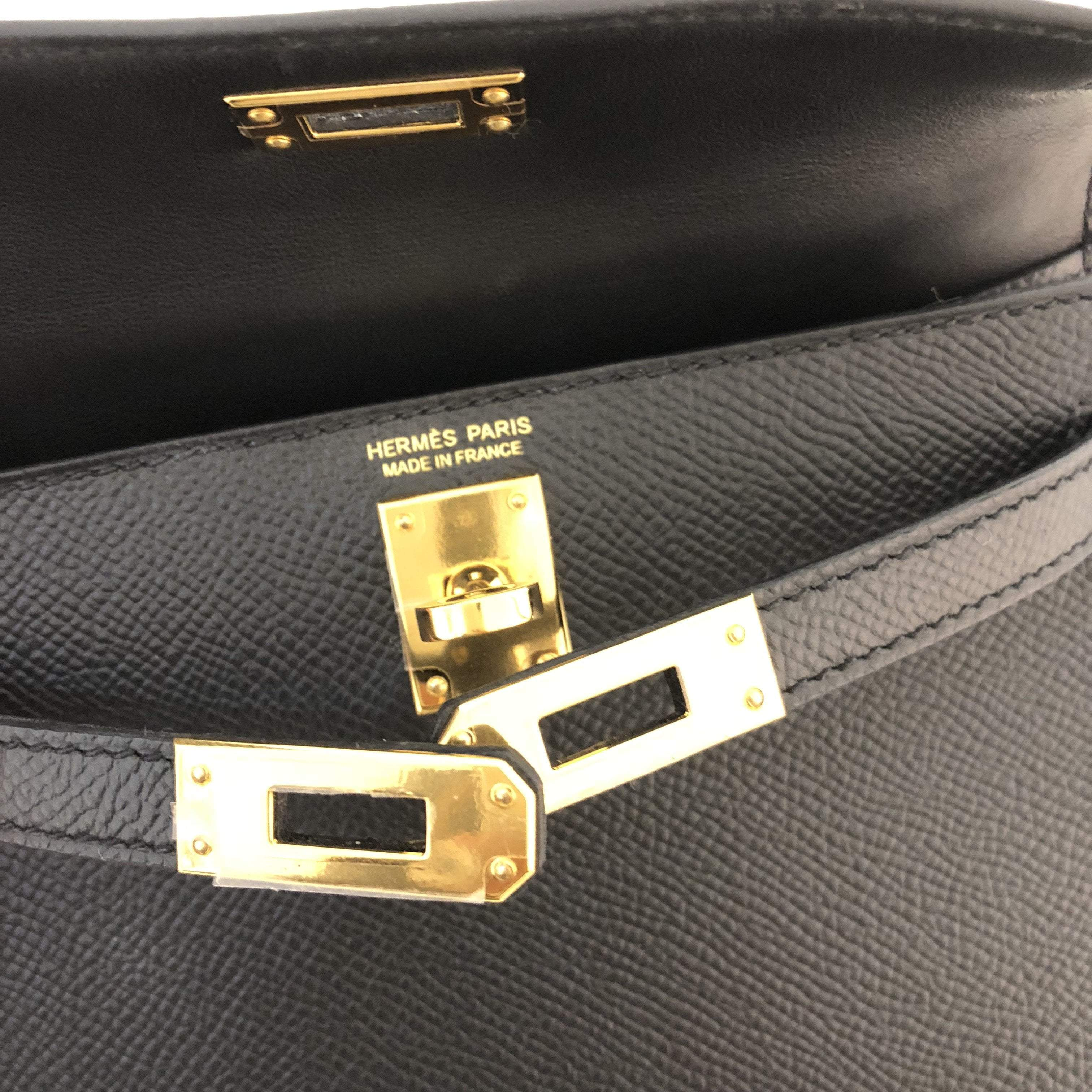 Hermes Noir Epsom Leather Mini Kelly II Bag with Gold Hardware