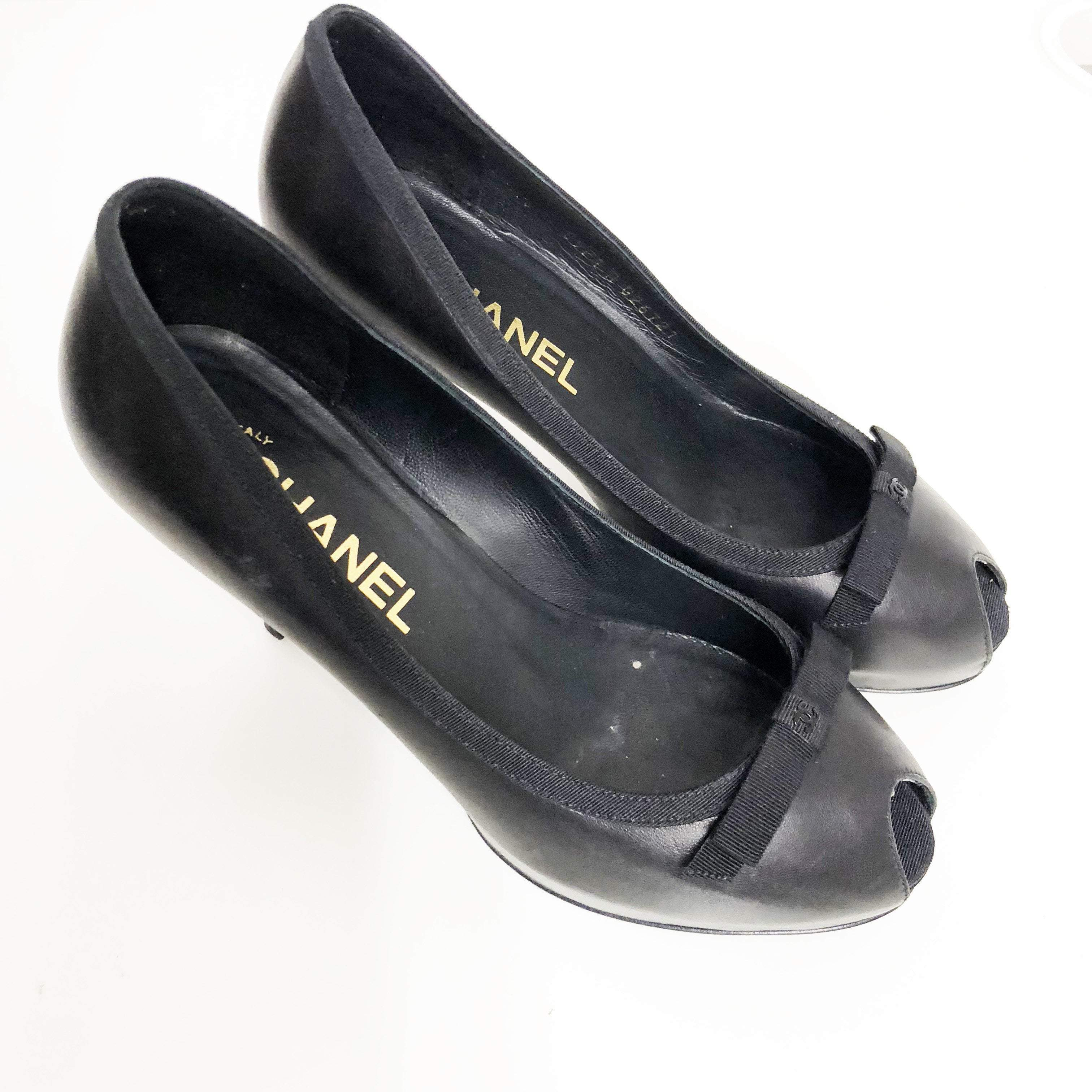 Chanel Leather Bow Peep Toe Shoes