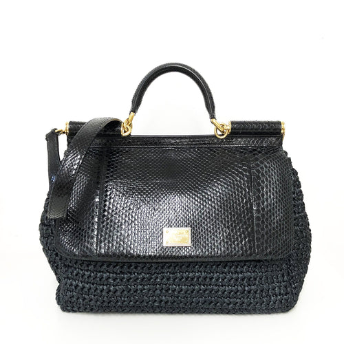 Dolce & Gabbana Black Sicily Straw Satchel Bag