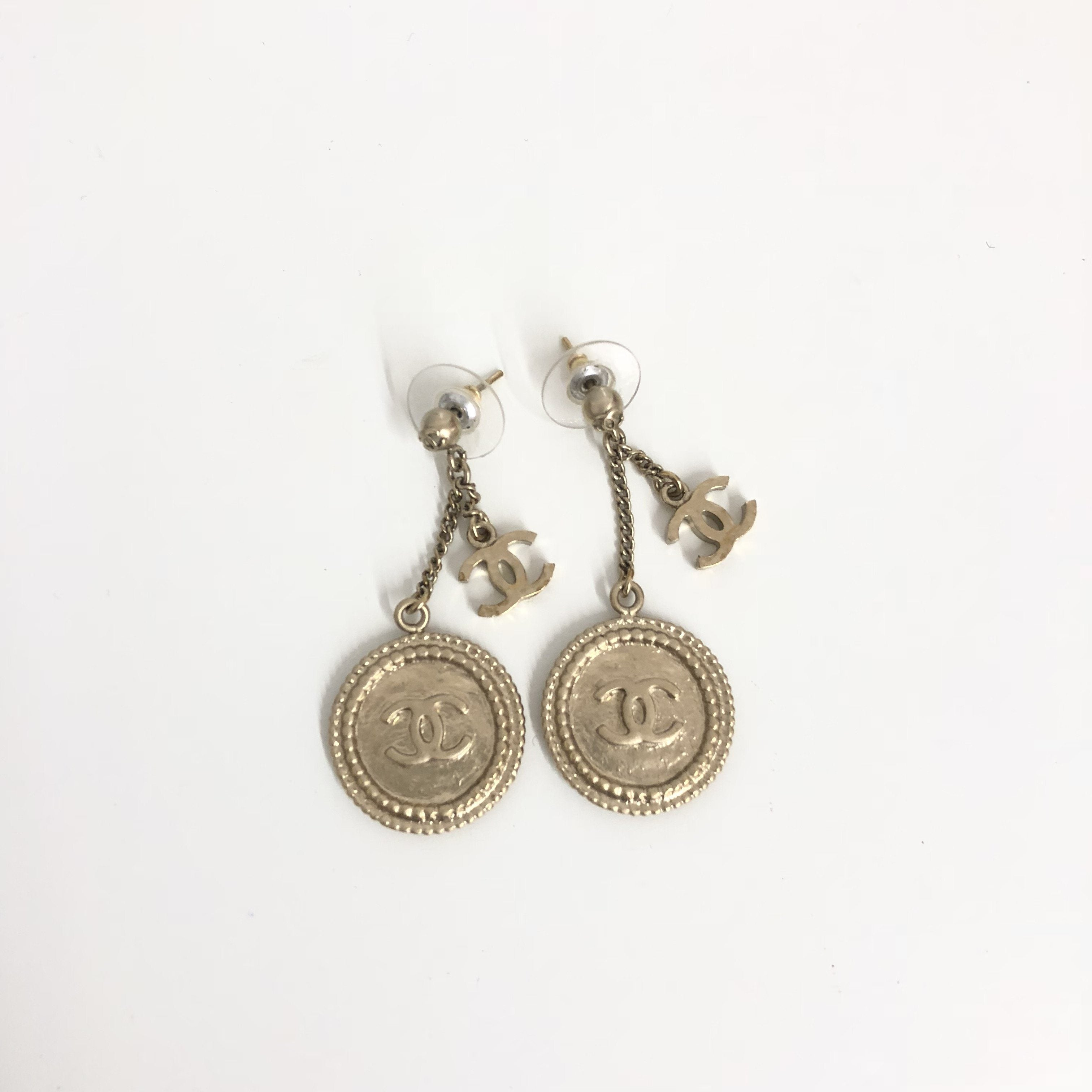 Chanel Clover Gold Coin CC Earrings