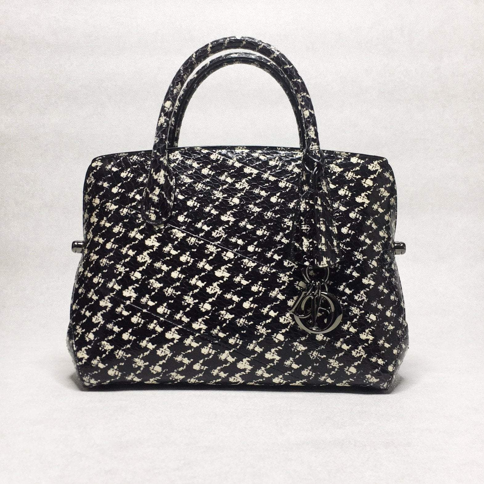 Houndstooth Print Python Skin Bar Bag