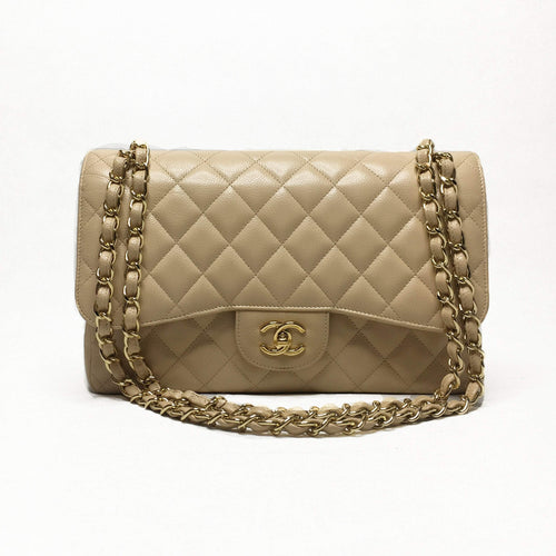 Chanel Beige Double Flap Caviar Jumbo Bag