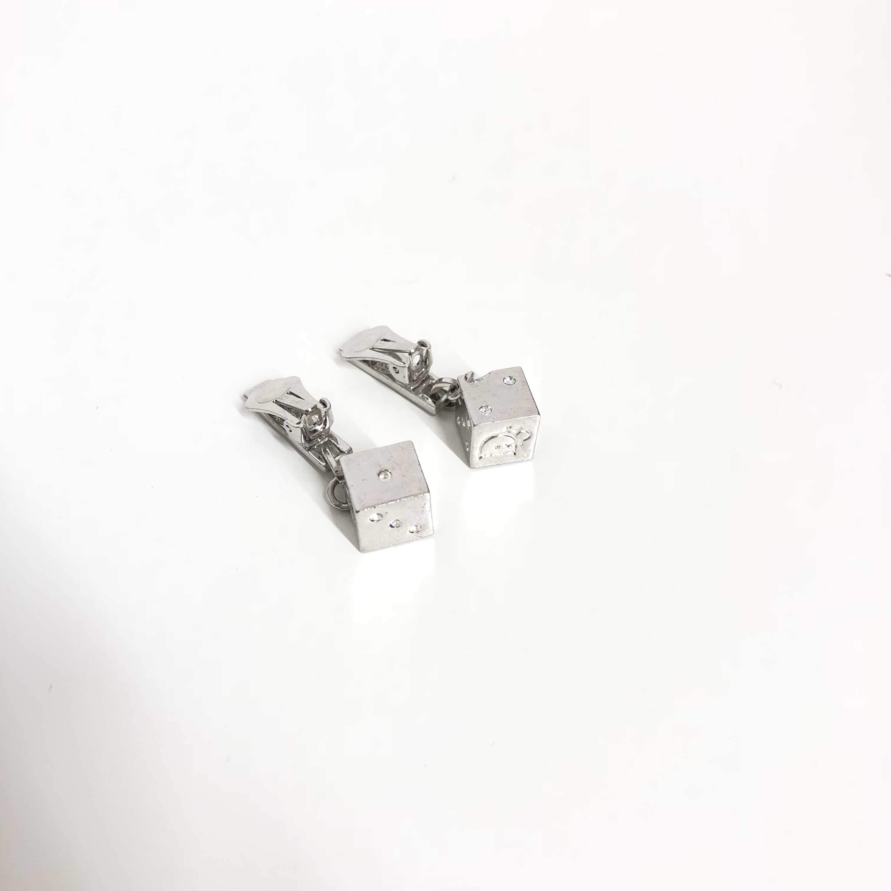 Christian Dior Silver Dice Earrings