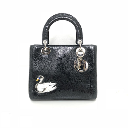 Dior Ceramic- effect  Deerskin Swan  Medium Lady Dior Tote