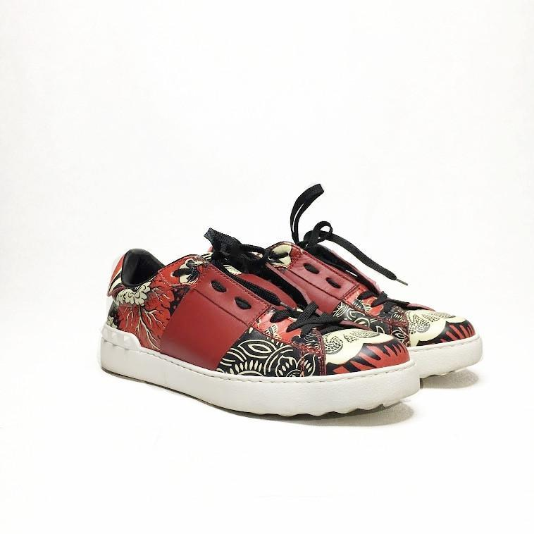 Red Printed Leather Sneakers