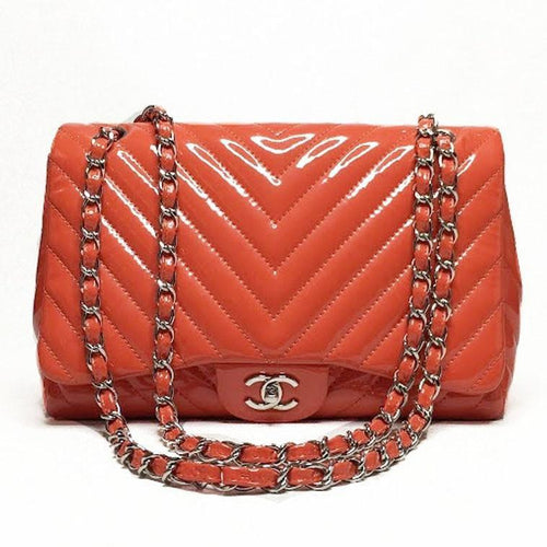 Chanel Orange Patent Leather Chevron Jumbo