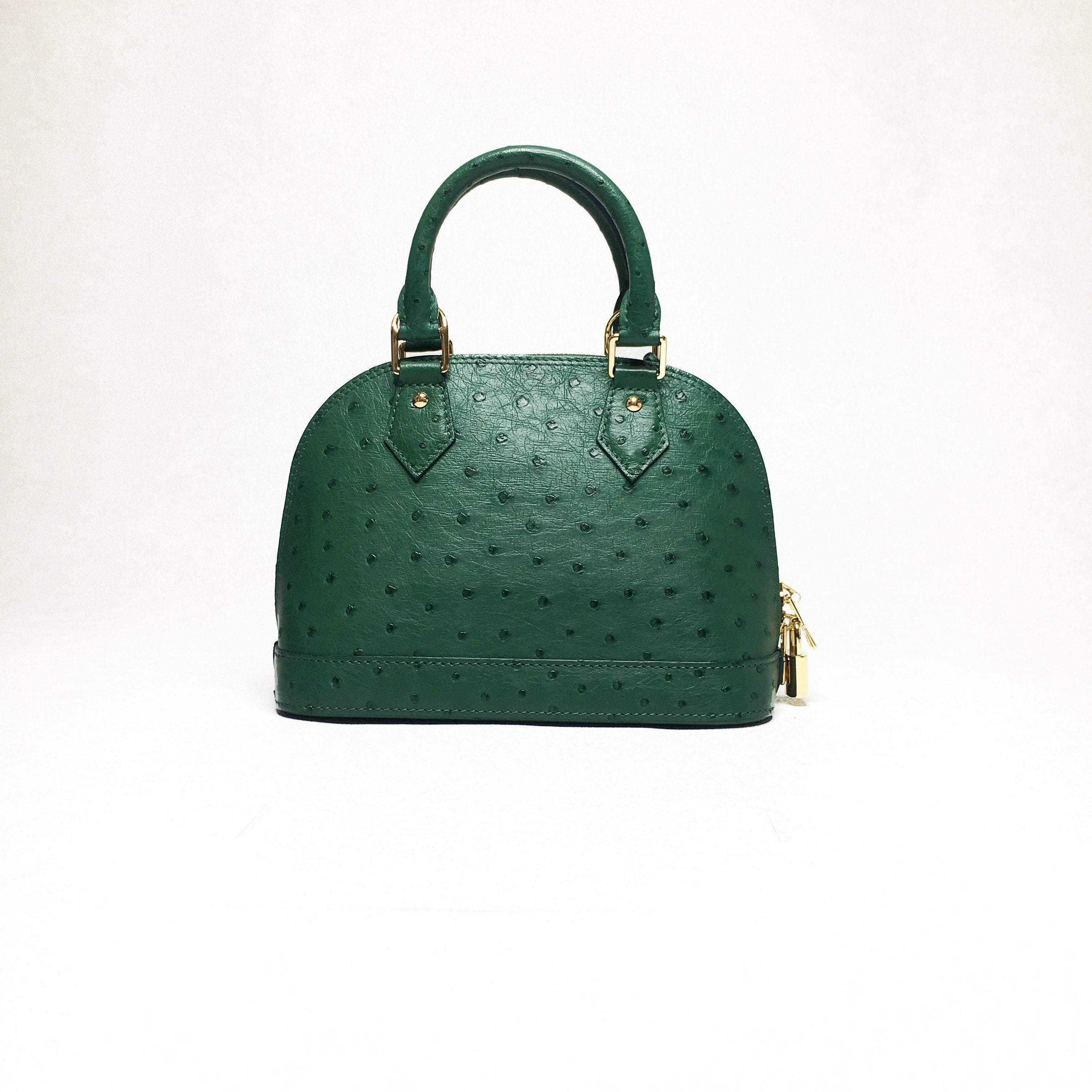 Menthe Ostrich Leather Alma BB Bag