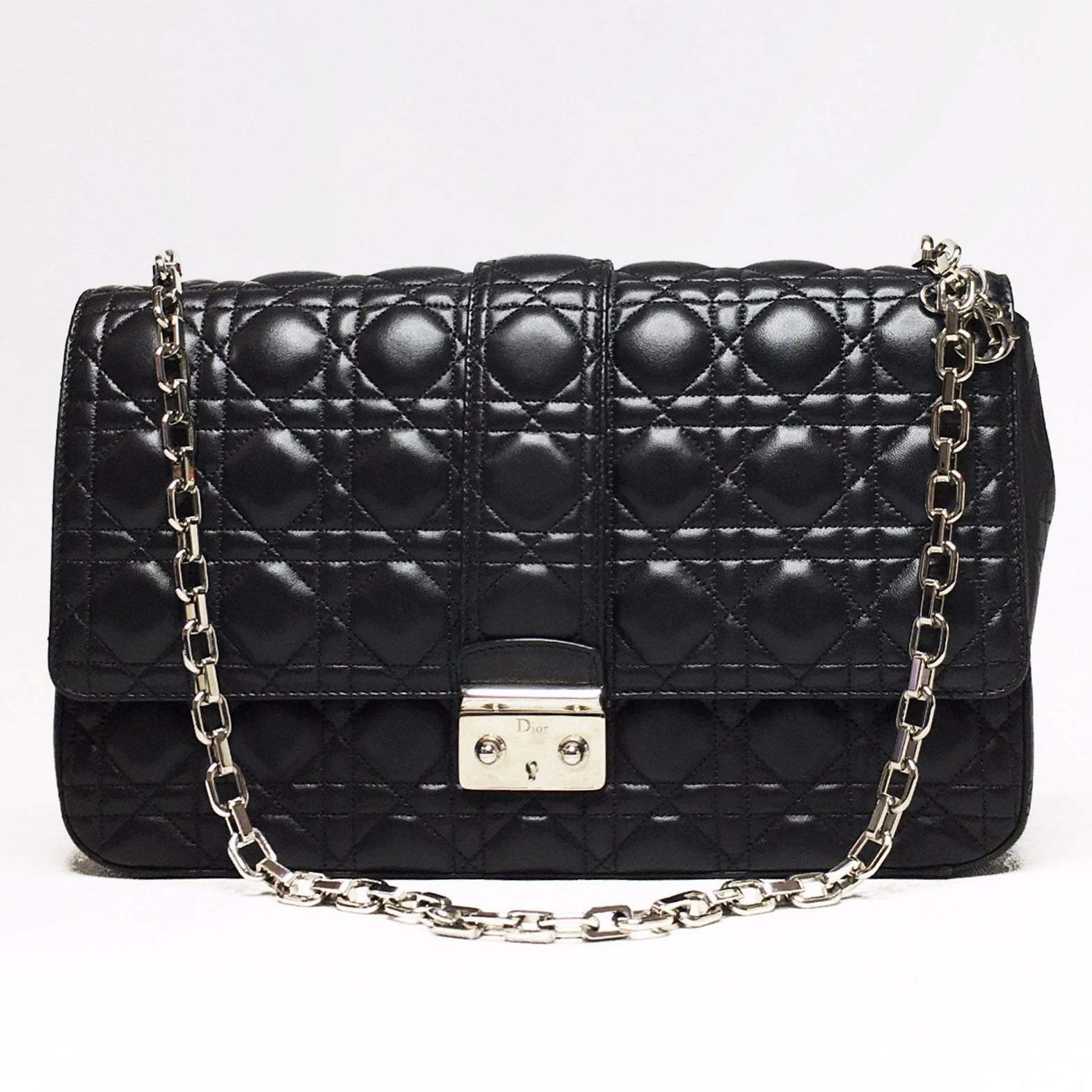 Christian Dior Black Cannage Quilted Lambskin Leather Miss Large ... 7f037b4846a95