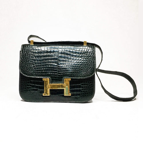Hermes Dark Green Porosus Crocodile Constance 23 CM Bag