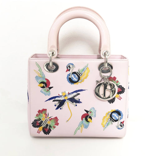 Dior Leather Animals Embroidered Medium Lady Dior Pink Tote