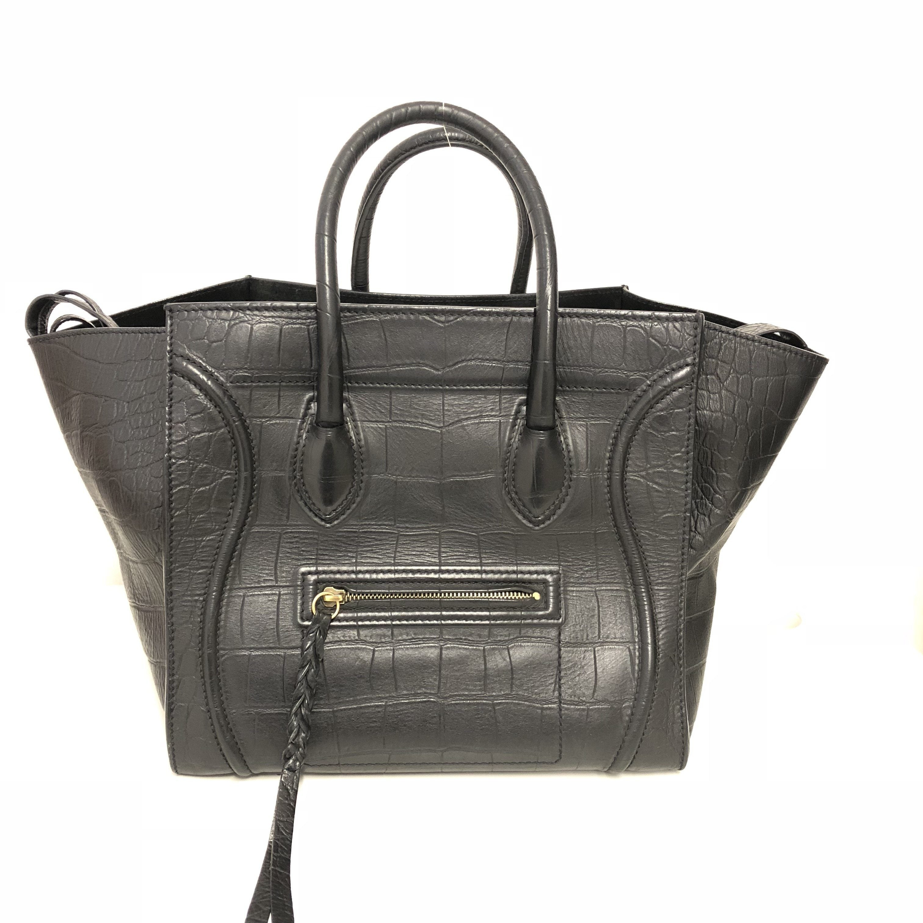 Celine Black Phantom Crocodile Embossed Bag