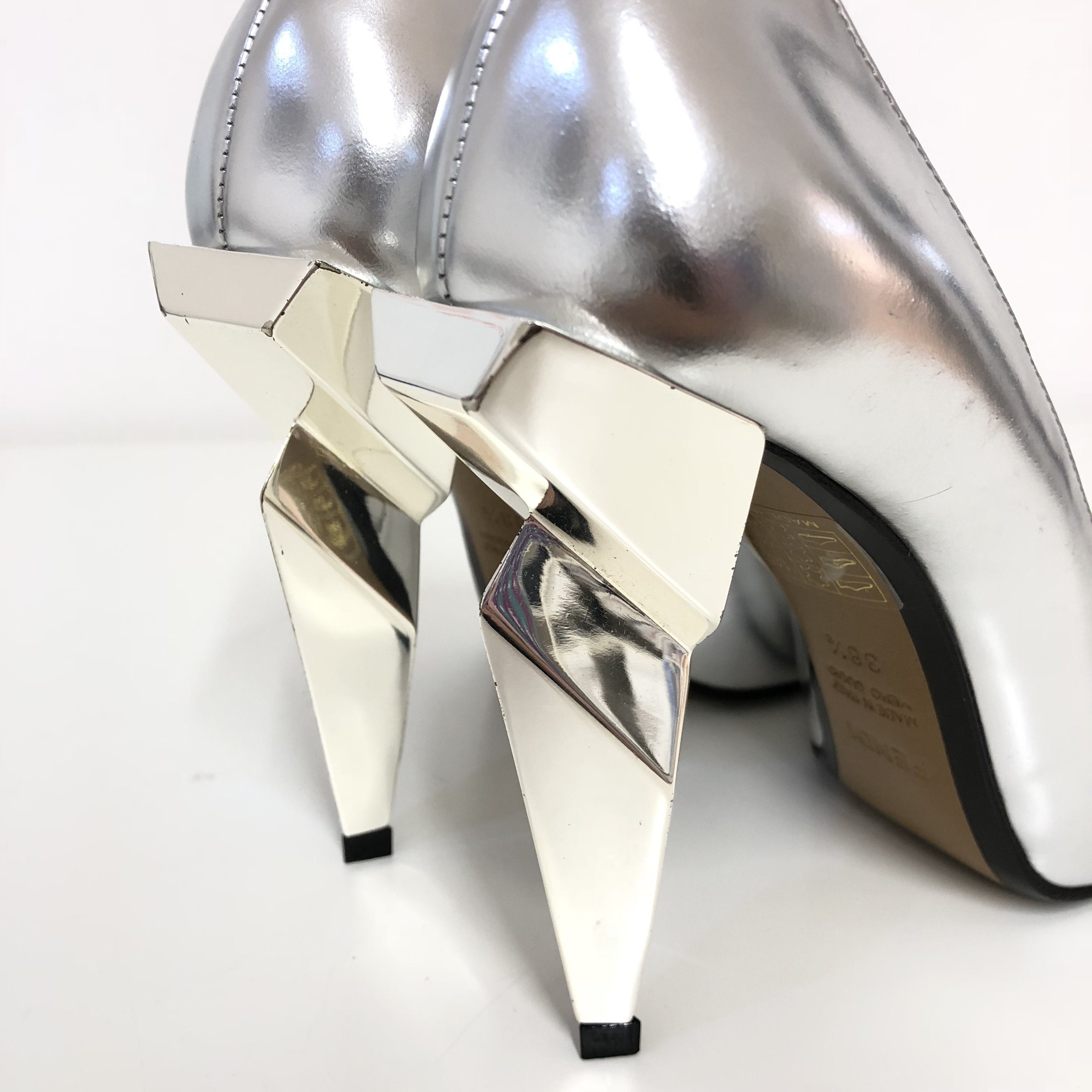 Fendi Metallic Silver Leather Diamond Heel Pumps