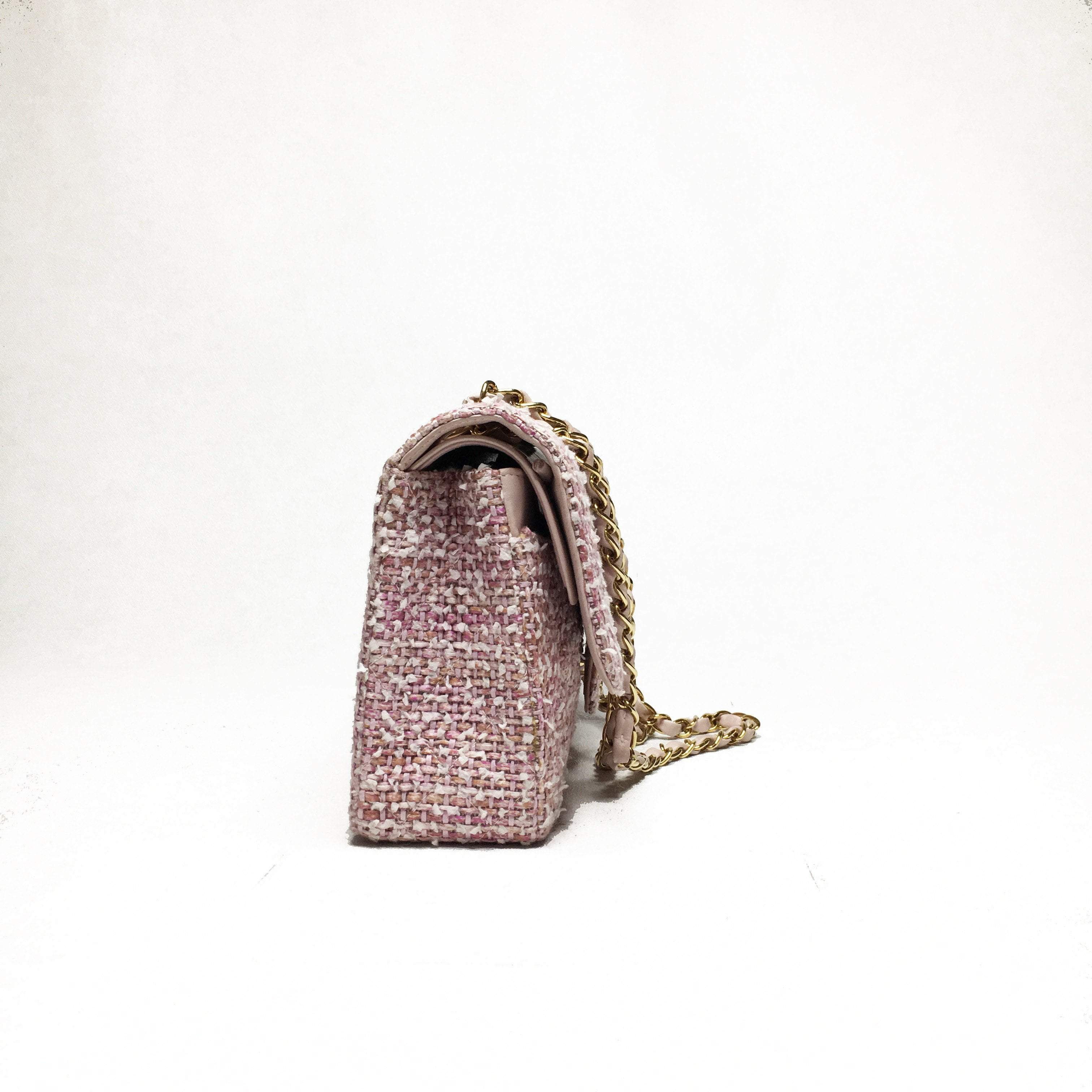 Pink Quilted Tweed Chain Strap Double Flap Bag