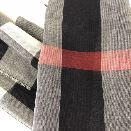 Burberry Giant Check Wool and Silk Navy Blue Scarf