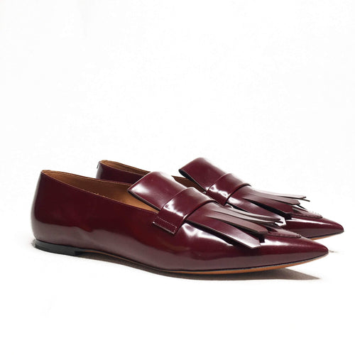 Celine Pointy Fringe Loafer in Burgundy Spazzolato Calfskin