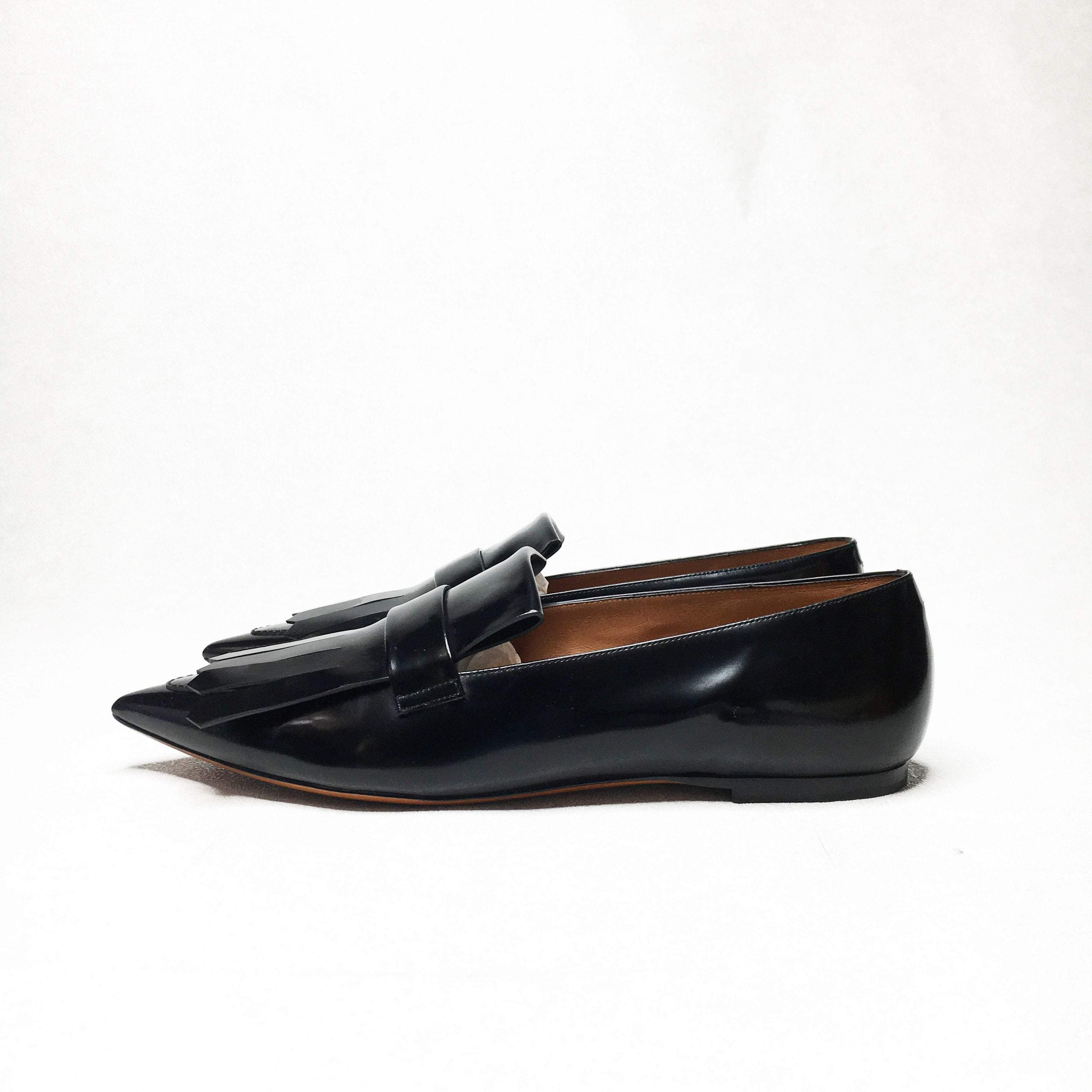 Celine Pointy Fringe Loafer in Black Spazzolato Calfskin