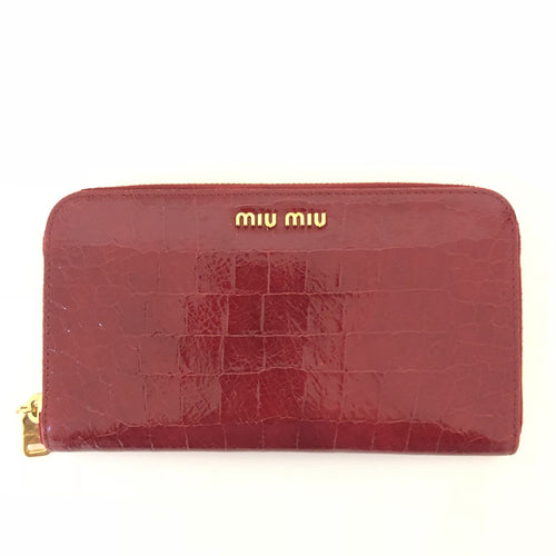 Miu Miu Dark Red Croc Effect Cracked Leather Zip Wallet