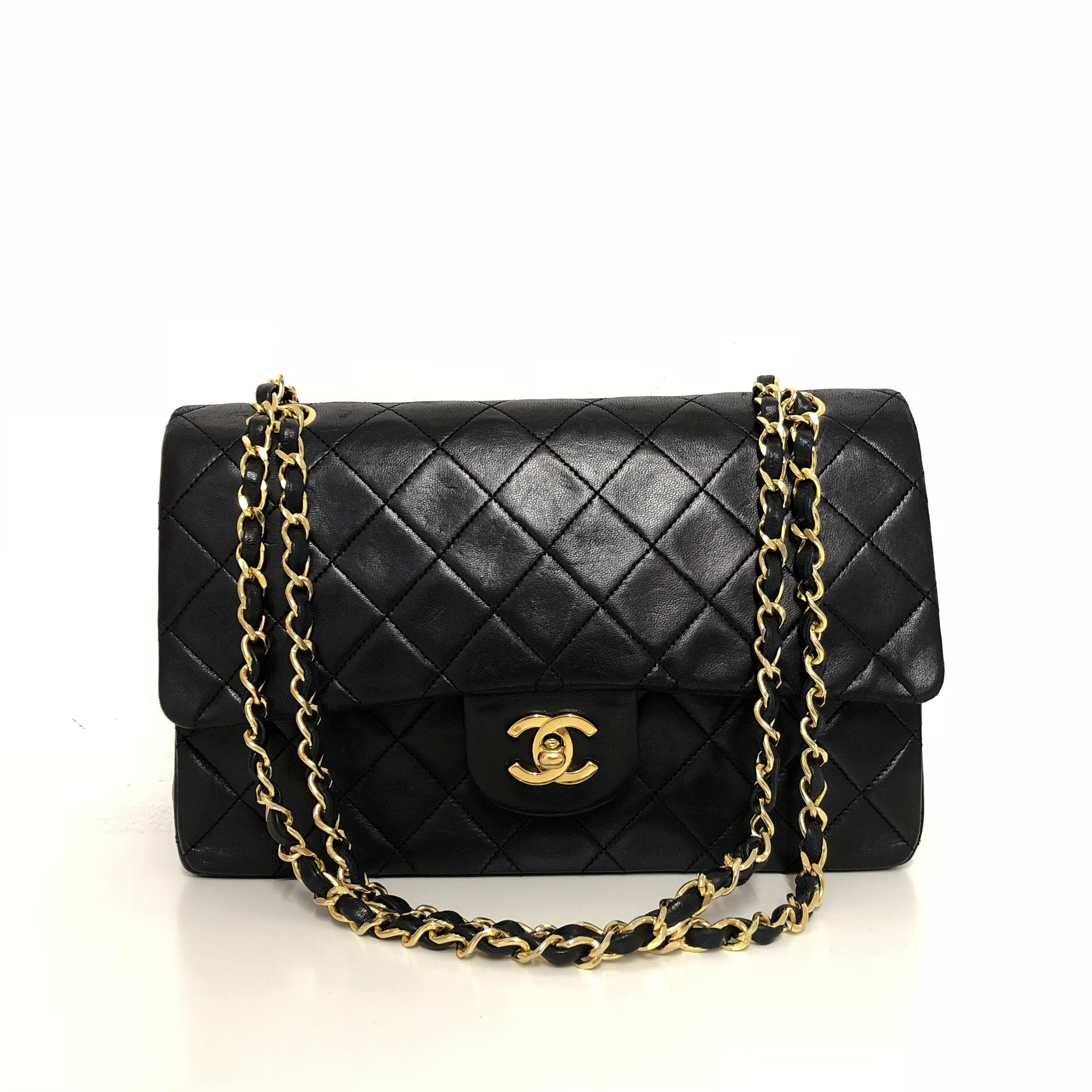 b623a6101b1c Chanel Black Quilted Leather Medium Vintage Classic Double Flap Bag ...