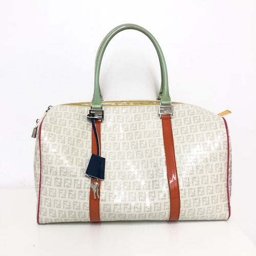 Fendi White Sequin Bauletto  Boston Bag